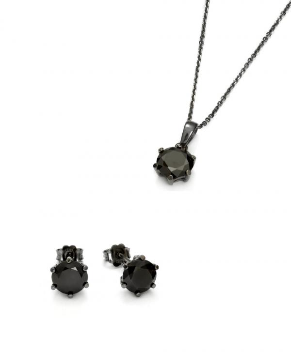 SCHIELE Harmony kolczyki naszyjnik czarna cyrkonia Czarny ruten zestaw