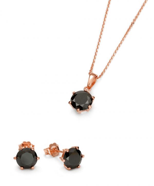 SCHIELE Harmony kolczyki naszyjnik czarna cyrkonia różowe złocenie zestaw