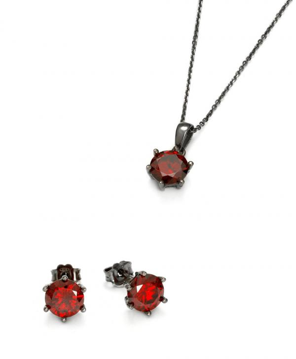 SCHIELE Harmony kolczyki naszyjnik czerwona cyrkonia Czarny ruten zestaw