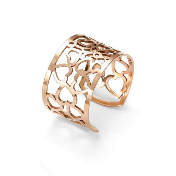 SCHIELE Lightness pierścionek ażur różowe złocony