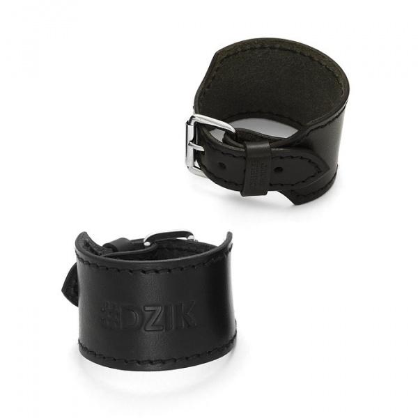 SCHIELE SPORT bransoleta skórzana szeroka z przeszyciami czarna #DZIK