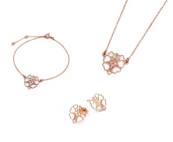 SCHIELE Lightness petite kolczyki naszyjnik bransoletka ażur złocenie różowe komplet opakowanie