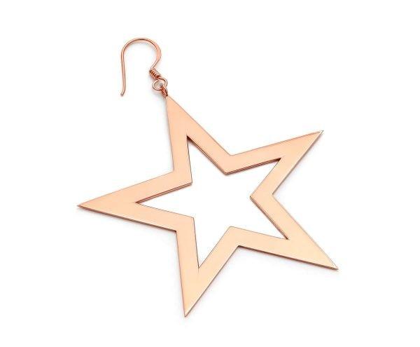 SCHIELE MIX duży kolczyk gwiazda złocenie różowe