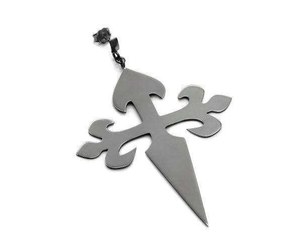 SCHIELE MIX duży kolczyk krzyż czarny ruten