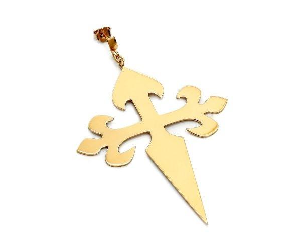 SCHIELE MIX duży kolczyk krzyż złocenie