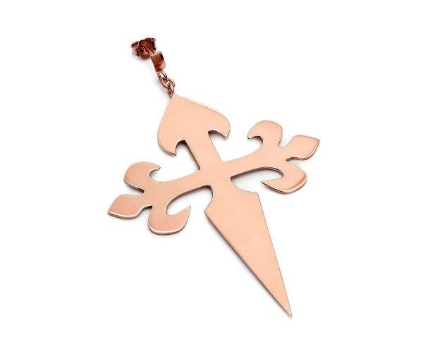SCHIELE MIX duży kolczyk krzyż złocenie różowe