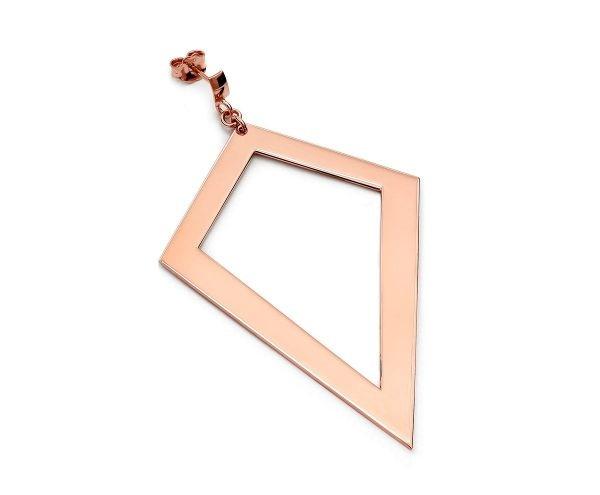 SCHIELE MIX duży kolczyk romb złocenie różowe