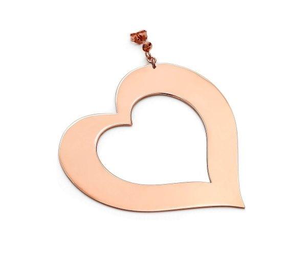 SCHIELE MIX duży kolczyk serce złocenie różowe