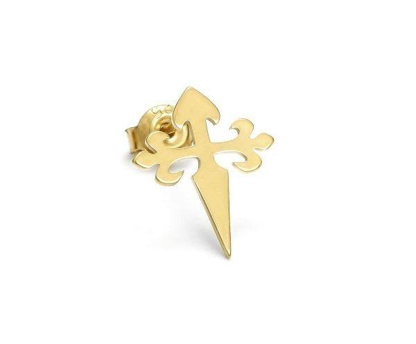 SCHIELE MIX mały kolczyk krzyż złocony