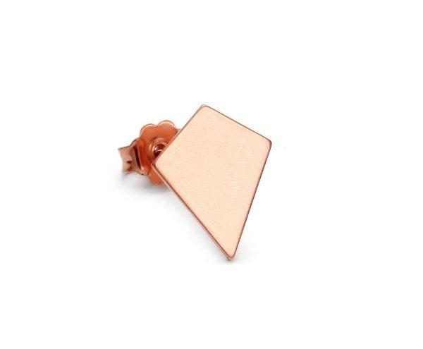 SCHIELE MIX mały kolczyk romb różowe złocenie