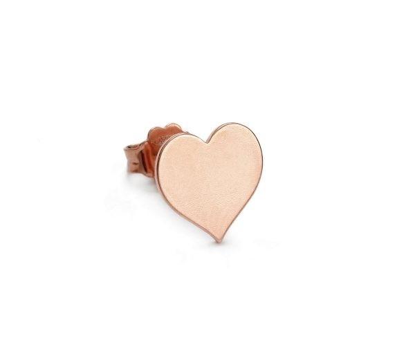 SCHIELE MIX mały kolczyk serce złocenie różowe