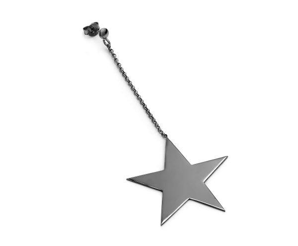 SCHIELE MIX średni kolczyk gwiazda na łańcuszku czarny ruten