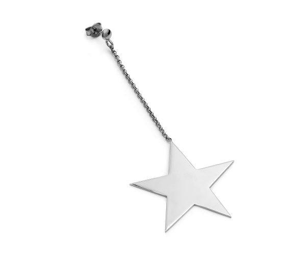 SCHIELE MIX średni kolczyk gwiazda na łańcuszku rod