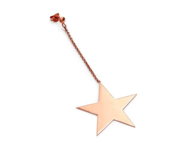 SCHIELE MIX średni kolczyk gwiazda na łańcuszku złoto różowe