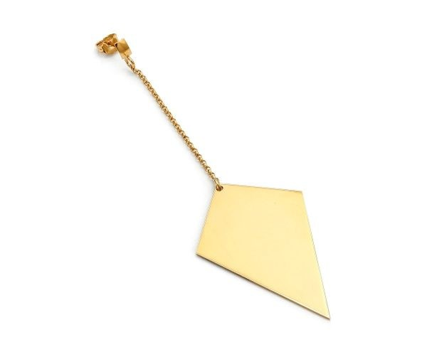SCHIELE MIX średni kolczyk romb na łańcuszku złocenie