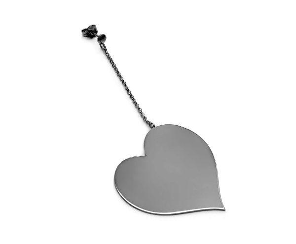 SCHIELE MIX średni kolczyk serce na łańcuszku czarny ruten