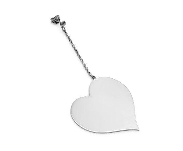SCHIELE MIX średni kolczyk serce na łańcuszku rod
