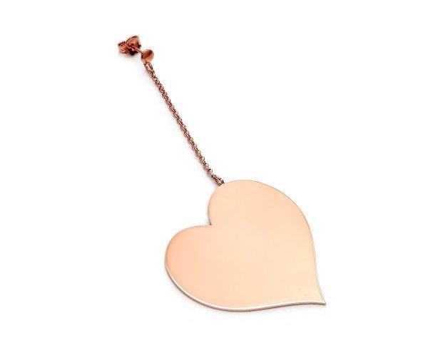 SCHIELE MIX średni kolczyk serce na łańcuszku złocenie różowe