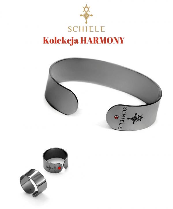 SCHIELE Harmony szeroka bransoletka pierścionek z czerwoną cyrkonią Czarny ruten