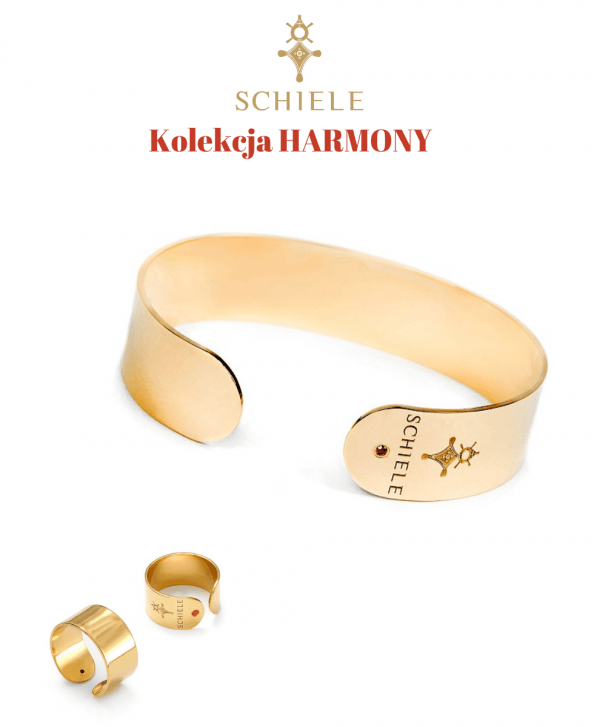 SCHIELE Harmony wąska bransoletka pierścionek z czerwoną cyrkonią żółte złoto