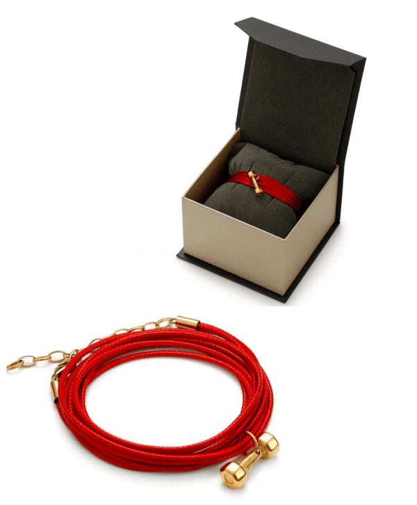 SCHIELE SPORT japoński sznurek LORNION bransoleta z hantel mały w opakowaniu złocenie zestaw