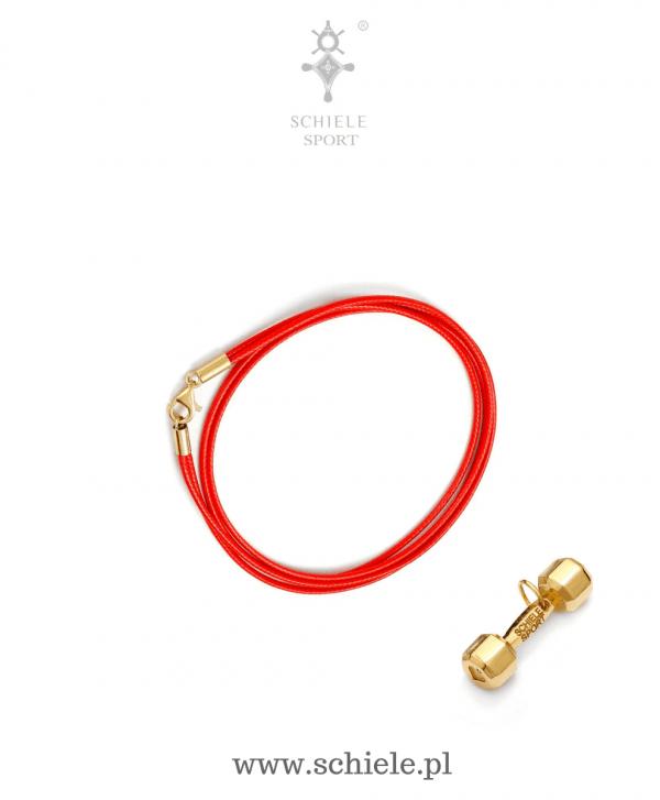 SCHIELE SPORT japoński sznurek LOUXION czerwień i bransoleta z hantel mały złoto