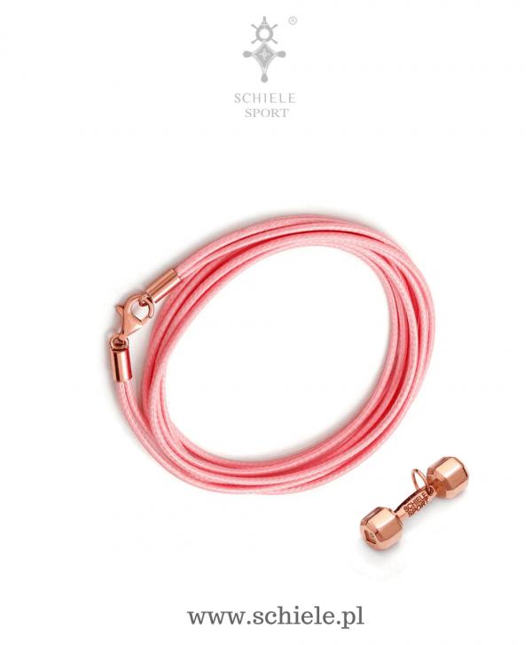 SCHIELE SPORT japoński sznurek LOUXION jasny róż i bransoleta z hantel mały złocenie różowe