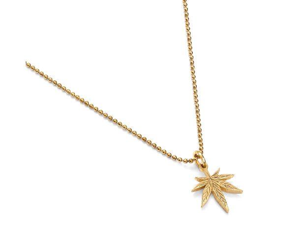 zawieszka liść z naszyjnikiem żółte złoto