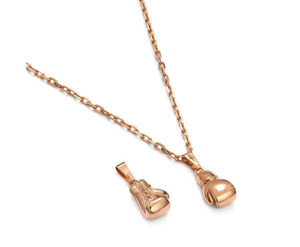 zawieszka rękawice bokserskie z naszyjnikiem różowe złoto